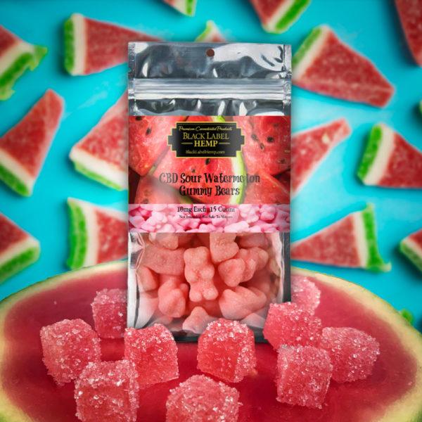 CBD Sour Watermelon Gummies 10mg each 15 count
