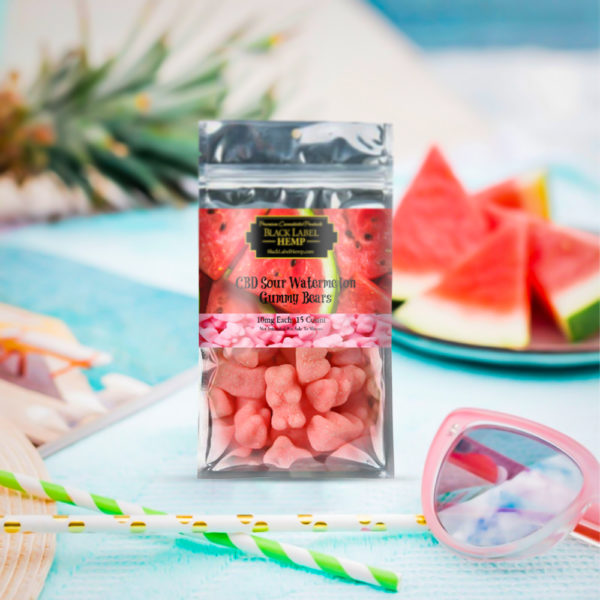 CBD Sour Watermelon Gummies 10mg each 15 count
