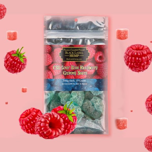 CBD Sour Blue Raspberry Gummy Bears 10mg each 15 count